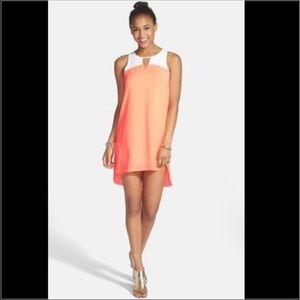 Everly coral-orange color block shift dress
